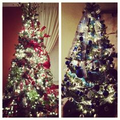 Every year we set up two Christmas trees, one in red and green upstairs and blue and silver downstairs. Why not? Double the Christmas spirit! - Luis Gonzalez