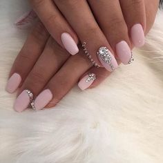 Light Pink Coffin Nails with Rhinestones for Prom