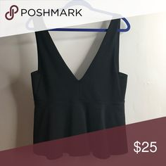 BLACK PLUNGING BOOBALICIOUS PEPLUM WORN ONCE***Hot! Black, sleek for fitting plunging peplum! Perfect for a night out! silence + noise Tops Tank Tops