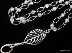 Leaf Lanyard with Clear Crackle Beads by byBrendaElaine on Etsy