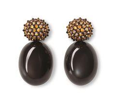 Hemmerle earrings, cognac-yellow coloured diamonds, moonstones, white gold, copper, 0319.13
