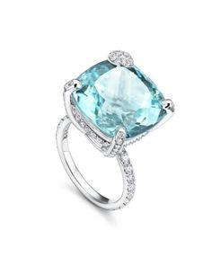 Ring Peekaboo white gold, paraiba, diamonds with brilliant cut Fine Jewelry, Jewellery, Diamonds, White Gold, Engagement Rings, Gemstones, Bracelets, Earrings, House
