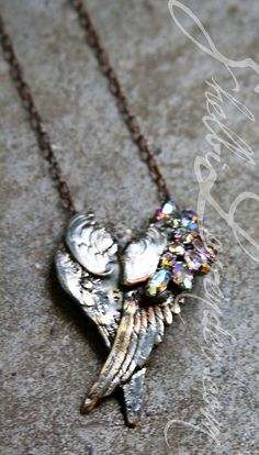 2 sets Silver wings form a heart with vintage sherman bling http://shelbilavender.com/necklaces-2/6690958233_15bdc48c95_z/ Link  $125
