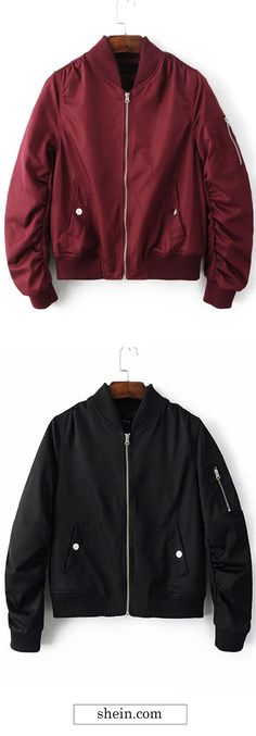 Women bomber jacket, flight jacket for fall/winter. More at shein.com.