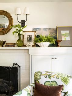 Garden-Fresh In front of the unused fire place, build a cabinet...put a wooden frame in the actual fire place, use it to store blankets or big pillows for extra seating.