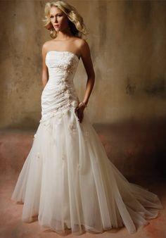 Rosette Dropped Waist Wedding Dress....