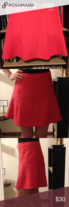 J. Crew fit and flare mini skirt Watermelon pink fit and flare skirt with super flattering panels and seams. Fully lined with a hidden back zip. 75% polyester, 20% viscose, 5% spandex. Not exactly neoprene but has a similar feel/style. J. Crew Skirts Mini