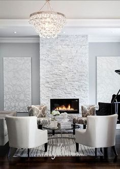 White and gray living room.