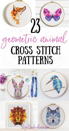 23 Geometric Animal Cross Stitch Patterns. Beautiful geometric animal embroidery patterns for beginners. Woodland animal embroidery. Geometric fox cross stitch. Geometric unicorn pattern. Geometric cross stitch designs for kids room decor. Cross Stitch Designs, Cross Stitch Patterns, Cross Stitch Tutorial, Embroidery Patterns Free, Modern Embroidery, Embroidery For Beginners, Embroidery Stitches, Jewel Tone Colors, Colours