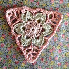 Working on this little bunting using Moya Whisper . Working on this little bunting using Moya Whisper . Bunting Pattern, Crochet Bunting, Crochet Garland, Crochet Blocks, Crochet Art, Crochet Squares, Crochet Home, Love Crochet, Crochet Motif
