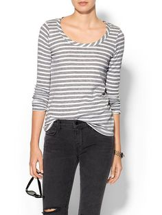 Tinley Road Womens Ashford Thermal Tee - Grey/white stripe by: Tinley Road @Piperlime