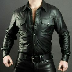 Wear this leather Shirt with Black quilted leather Pant for a best outfit. Leather Shirt is double stitched seems for durability. We will try to resolve the issue to the best of our ability. Military Style Shirts, Police Shirts, Police Uniforms, Uniform Shirts, Mens Leather Shirt, Leather Shirt Dress, Biker Leather, Leather Men, Leather Fashion