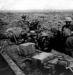 World War I, Scottish soldiers in a trench awaiting a counter-attack, ca. 1918