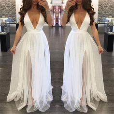 Sheer Maxi Dress, Backless Maxi Dresses, Tulle Prom Dress, Tulle Lace, Chiffon Dress, Homecoming Dresses, White Tulle, Long Evening Gowns, White V Necks
