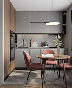 Modern kitchen in small open by Alexey Volkov on IG Kitchen Room Design, Home Room Design, Kitchen Cabinet Design, Modern Kitchen Design, Home Decor Kitchen, Interior Design Kitchen, Home Kitchens, Modern Kitchen Interiors, Minimalist Kitchen