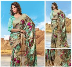JAYSAREES BLOG WORLD: Terquoish Shade Floral Print with Zari Bordered Sa...