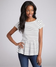 Wyatt white and black striped stretch short sleeve peplum top | BLUEFLY up to 70% off designer brands at bluefly.com