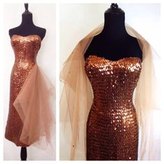 SHOWGIRL Vintage 1950s Strapless Sequin Copper Wiggle by hipsmcgee Women's cocktail party fashion evening wear