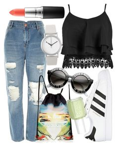 """""""Untitled #473"""" by hadar777 ❤ liked on Polyvore featuring River Island, adidas Originals, Boohoo, Normal Timepieces, Essie and MAC Cosmetics"""