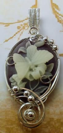 SOLD ~ R730 Butterfly Cameo Pendant Sterling Silver Fine Jewelry