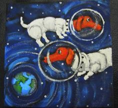 DACHSHUNDS IN SPACE by LittleEllensArt on Etsy | Original acrylic painting on stretched 6 by 6 inch canvas. Signed by Southwestern Ontario Canada Artist Ellen Haasen.