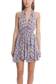 LoveShackFancy Halter Mini Dress | Blue&Cream