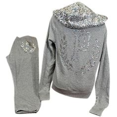 Pre-owned Victorias Secret Love Pink Set Bling Crest Zip Hoodie... ($190) ❤ liked on Polyvore featuring tops, grey, gray top, zip top, victoria secret tops, pink top and silver top