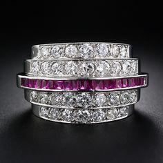 Art Deco Platinum Diamond and Ruby Ring