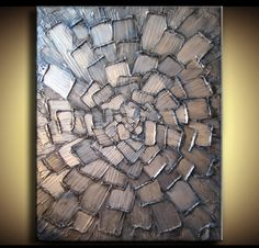 30 x 40 Original Abstract Custom Texture Modern Blue Silver White Metallic Carved Knife Oil Painting by Je Hlobik. $168.99, via Etsy.