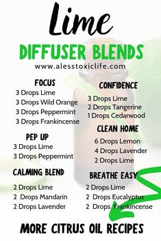 Diffuser blends using Lime Essential Oil Essential Oils Guide, Citrus Essential Oil, Essential Oil Diffuser Blends, Essential Oil Uses, Doterra Essential Oils, Young Living Essential Oils, Doterra Diffuser, Yl Oils, Natural Essential Oils