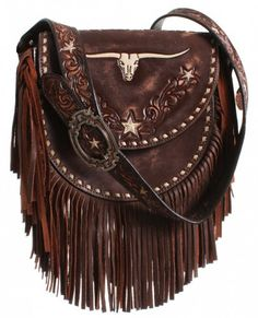 654883206b27 Brown Vintage Longhorn Saddle Bag - SB12