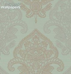 Bergonzi wallpaper is composed using two shades of paisley palmettes arranged in a damask pattern. The stylised palm leaf shapes alternate in complementing colours against a contrasting background.