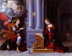 Garofalo (Benvenuto Tisi, Ferrara 1481 ca. - 1559) Annunciazione 1528 olio su tela cm 103 x 132 - Pianacoteca Capitolina, Palazzo dei Conservatori, Roma.
