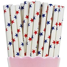 Red & Blue Star Paper Straw from Layer Cake Shop!  #patriotic #rwb #vintage #party #drinks #america