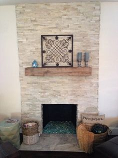 Charmant Renovated Fireplace With Stone Veneer, Reclaimed Wood Mantle, Converted To  Gas With Fire Glass