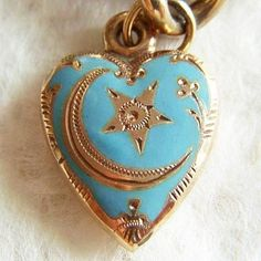 Victorian Enamel Moon and Star Puffy Heart pendant - jewelry - fashion accessories - blue / gold - love - VALENTINE'S day gift Tiffany Jewelry, Antique Jewelry, Vintage Jewelry, Pierre Turquoise, I Love Heart, New Blue, Heart Art, Heart Jewelry, Tiffany Blue