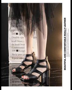 Summer New Women Sandals Women's Hollow Square Root High Heels Women Shoes Female Mujer Sapato Feminino Women Sandals, Fashion Sewing, Miu Miu Ballet Flats, Womens High Heels, New Woman, Chunky Heels, Fashion Models, Female, Casual