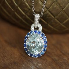 Aquamarine Necklace in 14k White Gold Halo Sapphire by LuxCrown