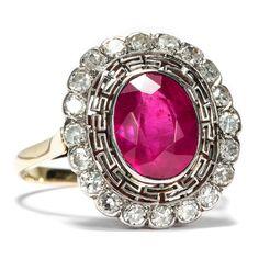 Wie Feuer und Eis  - Exzellenter Ring der Belle Époque mit Diamanten & großem Rubin, um 1912 von Hofer Antikschmuck aus Berlin // #hoferantikschmuck #antik #schmuck #Ringe #antique #jewellery #jewelry // www.hofer-antikschmuck.de