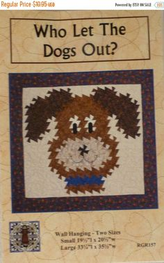 Spring Sale- Pattern, Wall Hanging Pattern- Who Let the Dogs Out? - Two Sizes , Using the Primitive Pinwheels and the Itty Bitty Twister Too Wall Patterns, Quilt Patterns, Sewing Patterns, Twister Quilts, Easter Sale, Decorative Pillow Covers, Quilt Blocks, Bohemian Rug, Let It Be