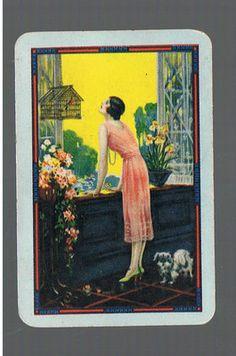 Playing Swap Cards 1 vint Awesome Art Deco Lady Dog Bird ES62 | eBay