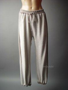 Beige Thermal Knit Casual Lounge Cotton Blend Women Track Sweat Pants / sporty chic / street style / Tambukiki Ebay Store
