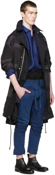 Haider Ackermann - Navy Distressed Biker Lounge Pants