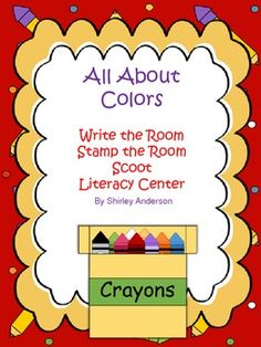 This is a great activity for Kindergarten or First grade.  Use as a literacy center where students move about and write the room, play scoot, stamp the words, or create sentences in a writing center.  Use the color/crayon cards for a word wall, if desired.