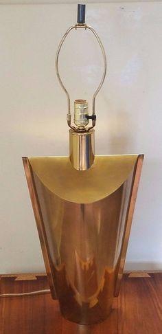 "Vintage Mid Century Modern Hollywood Regency Brass Table Lamp Metal Art Deco 30"""