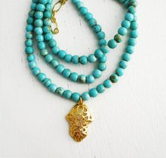 Hamsa necklace turquoise necklace gold necklace