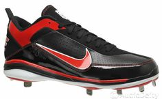 NIKE Air Show Elite 2 Mens Baseball Cleats (NEW) Metal Studs, Black / Red, 12.5