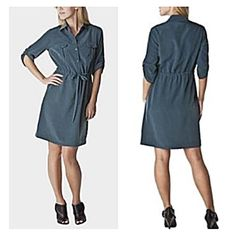 Mossimo blue utility dress Gorgeous slate blue dress with collar, two front pockets and tie ribbon to cinch waist. Silky material. Built-in tabs to help keep sleeves rolled up. Looks great with a chunky belt! Can be dressed up with heels for work, or dressed down with flats or sandals or boots for a casual look  Mossimo Supply Co Dresses