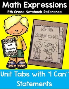 **This product aligns with Houghton Mifflin Harcourt Math Expressions for 5th Grade**This package includes notebook dividers to use for an interactive math notebook/journal. There are 8 unit dividers for notebooks. Each divider the I Can statements taken from each lesson focus in Math Expressions.
