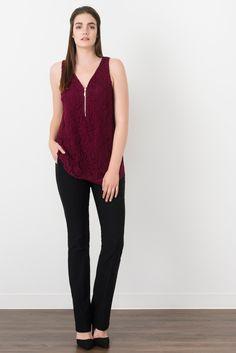 c710b8e11a8de Suzy Shier Lace Sleeveless Blouse